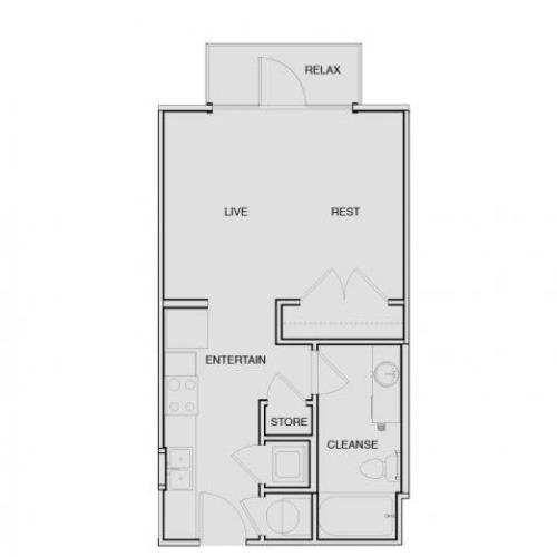 Studio Floor Plan | Apartments In South Nashville | Note 16