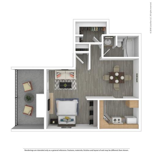 Studio Floor Plan | Federal Heights Co Apartments | The Lodge on 84th