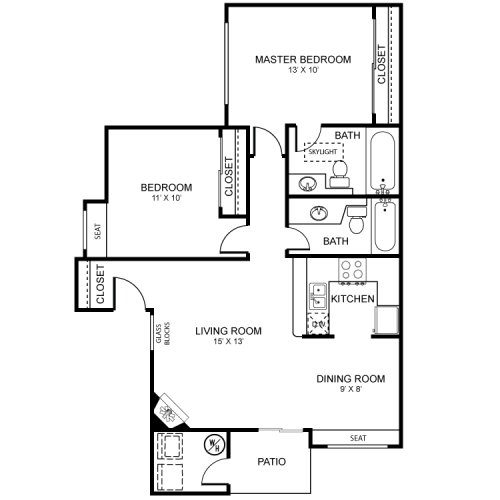 2 Bedroom Floor Plan | Apartments For Rent In Henderson Las Vegas | Martinique Bay