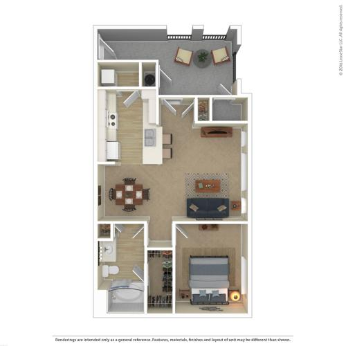 Floor Plan 2 | 1 Bedroom Apartments For Rent In Las Vegas Nv | Avanti