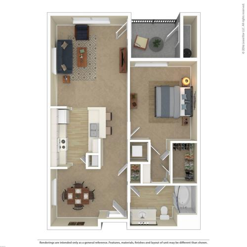 Floor Plan 7 | 1 Bedroom Apartments For Rent In Las Vegas Nv | Avanti