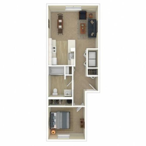 1 Bedroom Floor Plan   Apartments For Rent In Spokane, WA   Eagle Pointe Apartments
