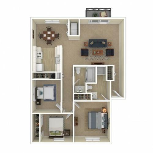 3 Bedroom Floor Plan | Apartments For Rent In Spokane, WA | Eagle Pointe Apartments