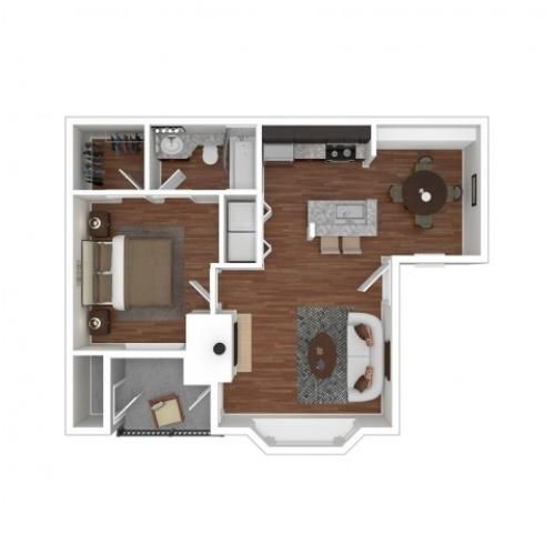 1 Bedroom Floor Plan | Apartments For Rent In Bellevue, WA | Overlook at Lakemont Apartments
