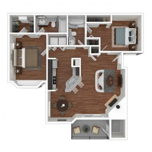 2 Bedroom Floor Plan | Apartments For Rent In Bellevue, WA | Overlook at Lakemont Apartments