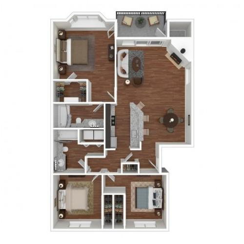 3 Bedroom Floor Plan | Apartments For Rent In Bellevue, WA | Overlook at Lakemont Apartments