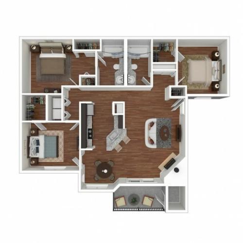 3 Bedroom Floor Plan   Apartments For Rent In Bellevue, WA   Overlook at Lakemont Apartments