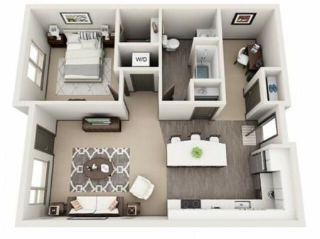 1 Bedroom Floor Plan | Apartments For Rent In Hillsboro Oregon | Tessera at Orenco Station