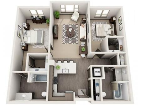 2 Bedroom Floor Plan | Apartments Near Hillsboro Oregon | Tessera at Orenco Station