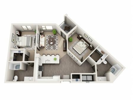 2 Bdrm Floor Plan | Hillsboro Oregon Apartments For Rent | Tessera at Orenco Station