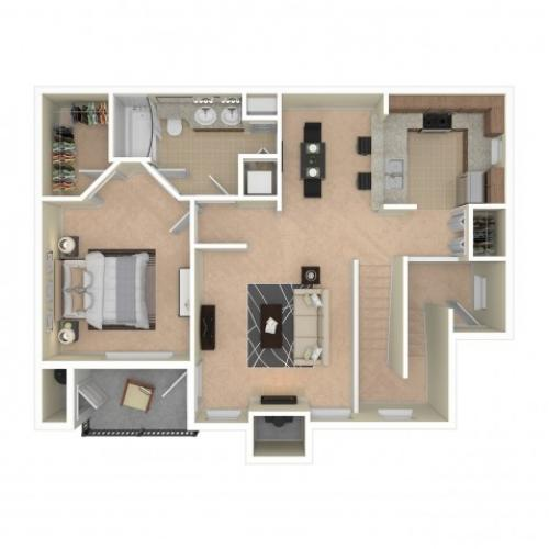 1 Bdrm Floor Plan | Apartments For Rent In Redmond, WA | The Heights at Bear Creek