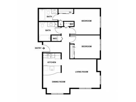 2 Bedroom Floor Plan | Apartments For Rent In Seattle | Vantage Park