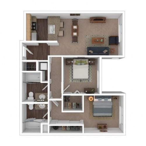 2 Bdrm Floor Plan   Apartments In Seattle Washington   Vantage Park