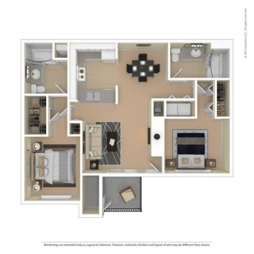 2 Bedroom Floor Plan | Apartments For Rent In Richland, WA | Riverpointe Apartments