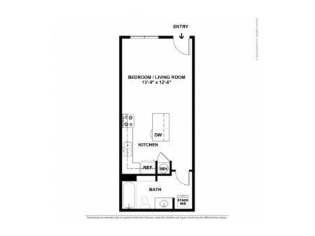 Studio Floor Plan | Apartments For Rent In Beaverton, OR | Element 170 Apartments