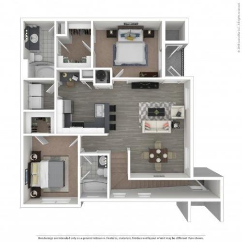 Floor Plan 3 | Apartments In Nashville, TN | Hamptons at Woodland Pointe