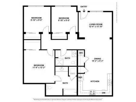 3 Bdrm Floor Plan | Luxury Apartments In Beaverton Oregon | Element 170