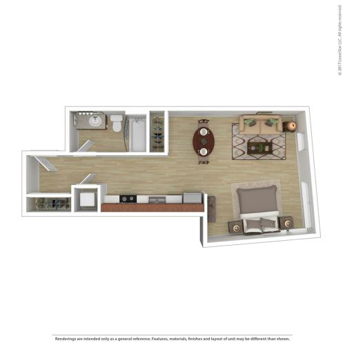 Studio Floor Plan | Apartments For Rent In Portland, OR | Tanner Flats Apartments