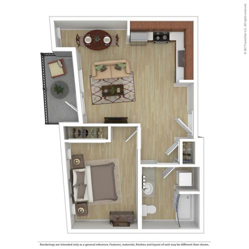 1 Bedroom Floor Plan   Apartments For Rent In Portland, OR   Tanner Flats Apartments
