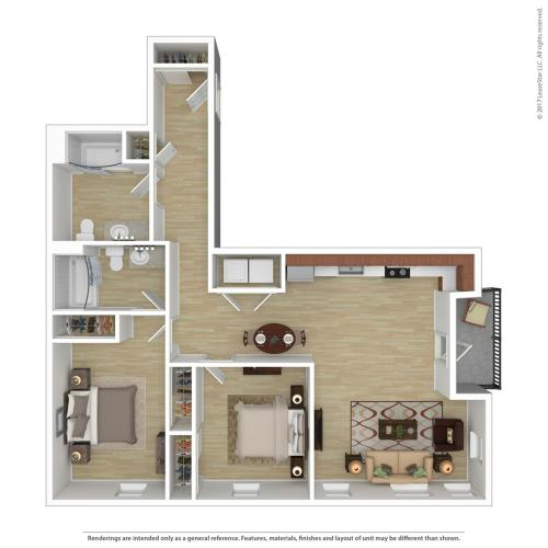2 Bedroom Floor Plan   Apartments For Rent In Portland, OR   Tanner Flats Apartments