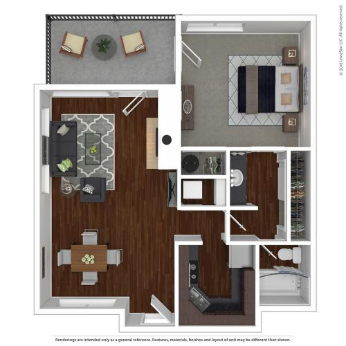 1 Bedroom Floor Plan |  Apartments For Rent In Lake Oswego, OR  | One Jefferson Apartments
