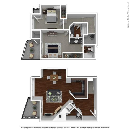 2 Bedroom Floor Plan | Apartments For Rent In Lake Oswego, OR  | One Jefferson Apartments