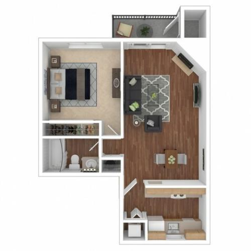 1 Bedroom Floor Plan | Apartments For Rent In Renton, WA | 2000 Lake Washington Apartments