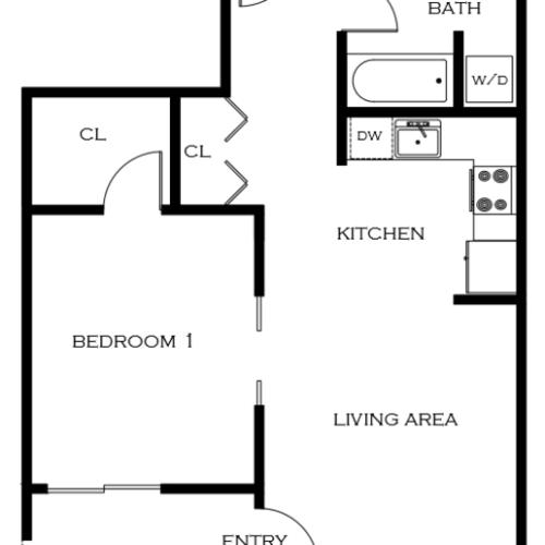 1 Bedroom Floor Plan | Apartments For Rent In Portland Oregon | 5819 Glisan