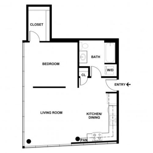 1 Bedroom Floor Plan | Apartments For Rent In Bellevue, WA | Sylva on Main Apartments