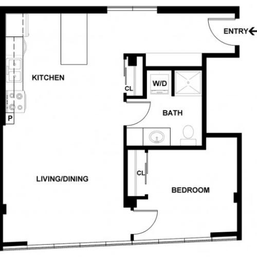 1 Bedroom Floor Plan | Apartments For Rent In Bellevue, WA | Sylva on Main Apartments