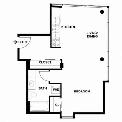 Studio Floor Plan | Apartments For Rent In Bellevue, WA | Sylva on Main Apartments