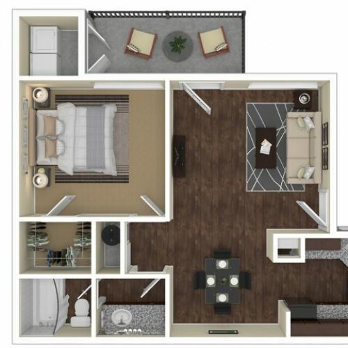 1 Bedroom Floor Plan | Apartments For Rent In Chandler, AZ | Arches at Hidden Creek Apartments