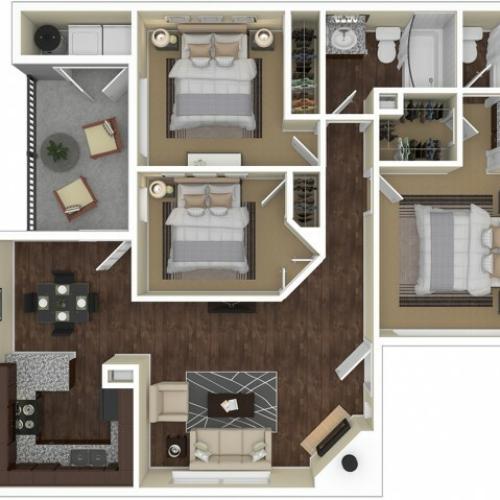 3 Bedroom Floor Plan | Apartments For Rent In Chandler, AZ | Arches at Hidden Creek Apartments