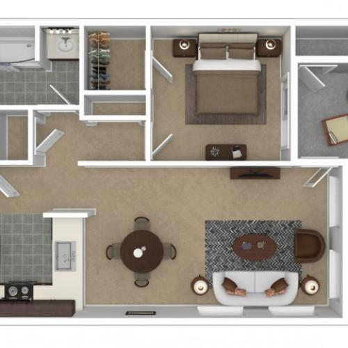 1 Bedroom Floor Plan | Apartments For Rent In Anaheim, CA | Overlook at Anaheim Hills
