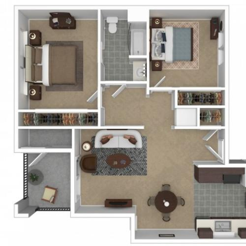2 Bedroom Floor Plan | Apartments For Rent In Anaheim, CA | Overlook at Anaheim Hills