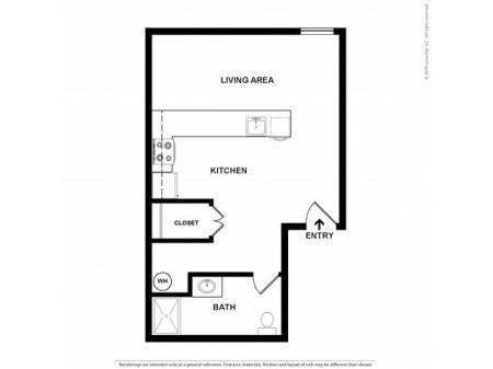 Studio Floor Plan | Apartments For Rent In Kennewick, WA | Heatherstone Apartments