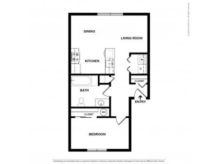 1 Bedroom Floor Plan | Apartments For Rent In Kennewick, WA | Heatherstone Apartments