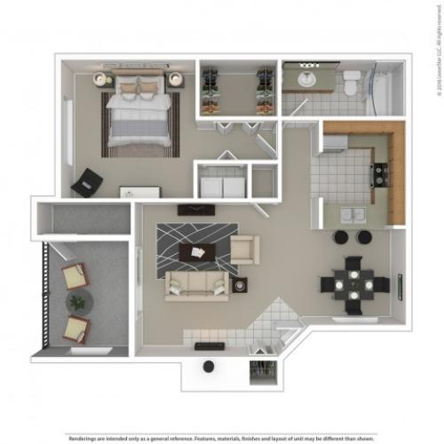 1 Bedroom Floor Plan | Apartments For Rent In Kennewick, WA | Crosspointe Apartments