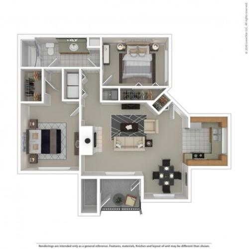2 Bedroom Floor Plan | Apartments For Rent In Kennewick, WA | Crosspointe Apartments