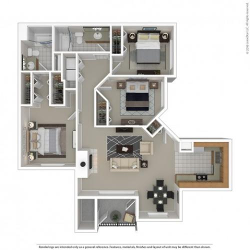3 Bedroom Floor Plan | Apartments For Rent In Kennewick, WA | Crosspointe Apartments