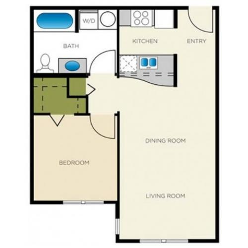 1 Bedroom Floor Plan | Apartments For Rent In Seattle, WA | Vantage Park Apartments