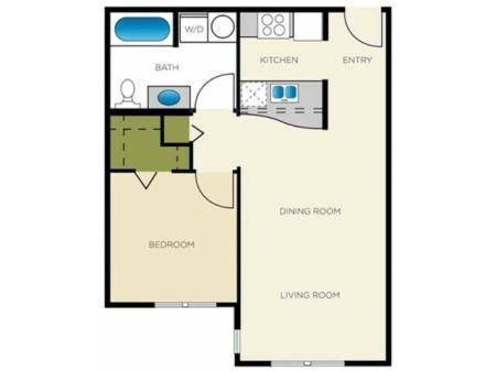 1 Bedroom Floor Plan | Apartments For Rent In Seattle, WA | Vantage Park Apartments