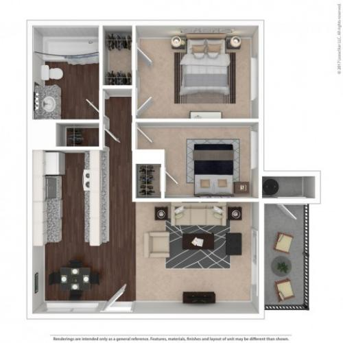 2 Bedroom Floor Plan | Apartments For Rent In Suisun City, CA | The Henley Apartment Homes