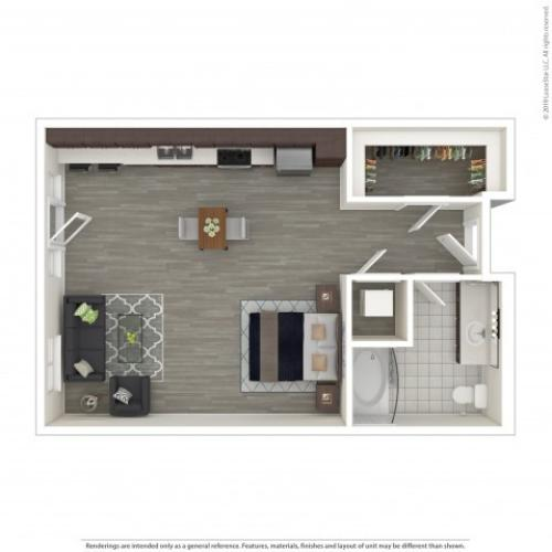 Studio Floor Plan | Apartments For Rent in Seattle, WA | Pratt Park Apartments