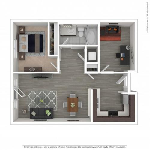 1 Bedroom Floor Plan | Apartments For Rent In Seattle, WA | Pratt Park Apartments