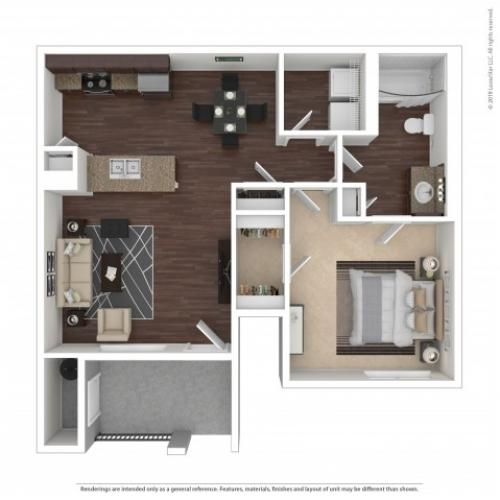 1 Bedroom Floor Plan | Apartments For Rent In Henderson, NV | The Edge at Traverse Pointe Apartments