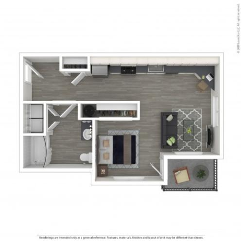Studio Floor Plan   Apartments For Rent Lacey Wa   The Marq on Martin