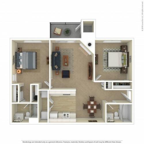 Cedar Two Bedroom Two Bathroom Apartment