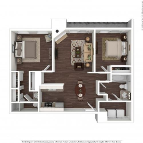 2 Bedroom Floor Plan | Apartments In Aurora Colorado | The Grove at City Center