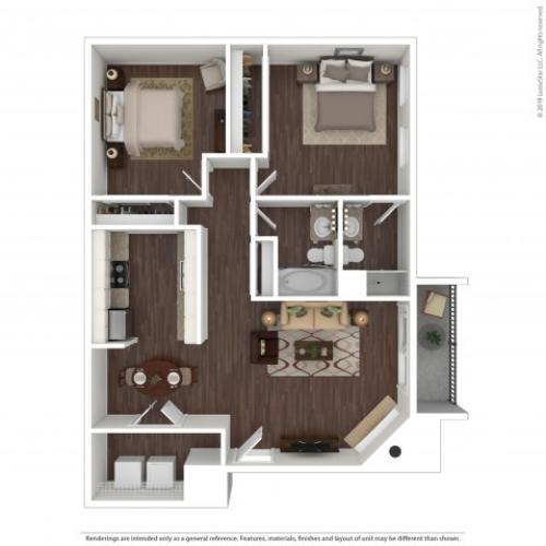 2 Bdrm Floor Plan | Pet Friendly Apartments Aurora Co | The Grove at City Center